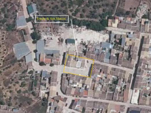 Entorno de San Marcos. Fuente: http://www.ign.es/iberpix2/visor . Dibujo: propio.