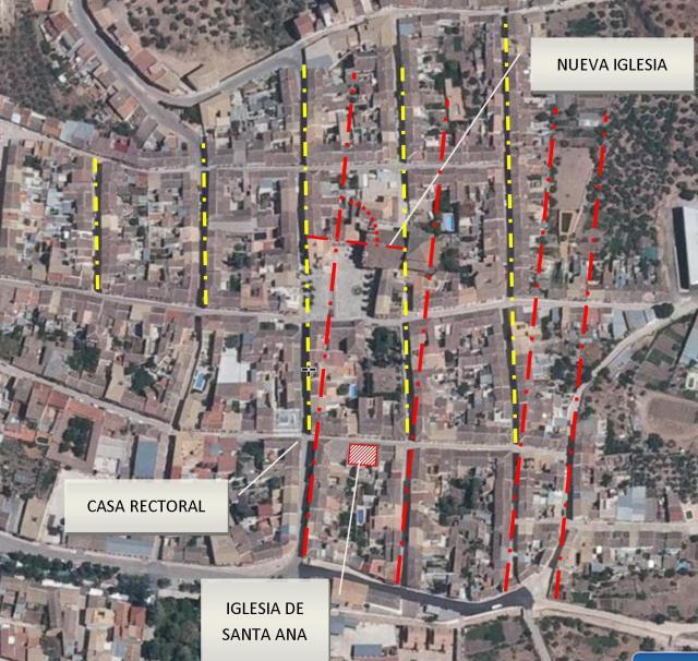 Alineaciones en el callejero de Cabra. Fuente: http://www.ign.es/iberpix2/visor . Dibujo: propio.