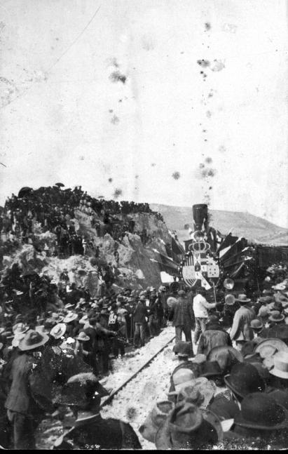 Llegada al Salado de la locomotora inaugural. Fuente: colección Cerdá y Rico.