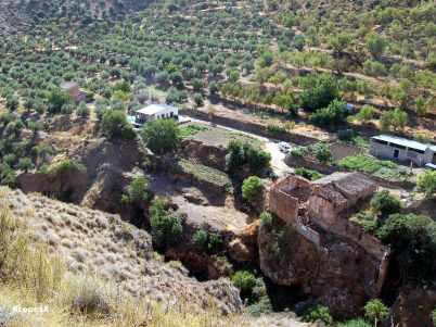 Vista del Molino Barranco desde el carril de la margen izquierda del barranco del Candelero