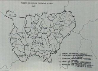 Proyecto de división provincial de 1829. Fuente: Juan Antonio López Cordero (www.pegalajar.org)