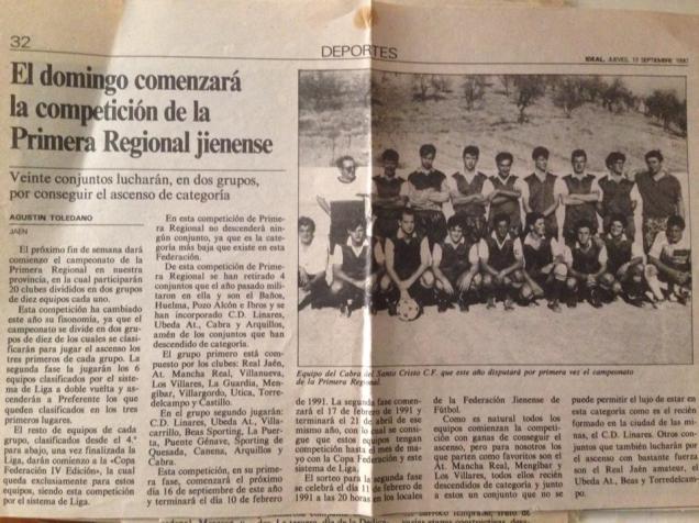 """Nota de prensa sobre el Cabra C.F. durante la década de los noventa.. Fuente: """"Fotos para el Recuerdo"""" grupo local en Facebook de fotos antiguas de Cabra del Santo Cristo."""