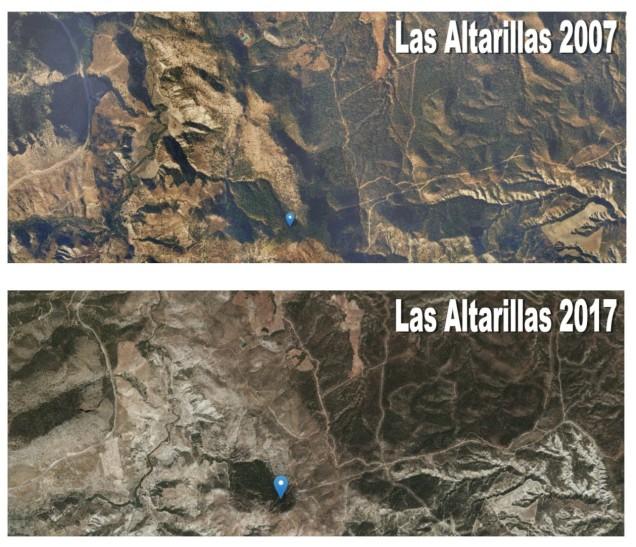 Comparativa de la zona de las Altarillas afectada por el incendio de 2009. Fuente: http://geamap.com/ortofoto-espana#5/37.300/-4.900