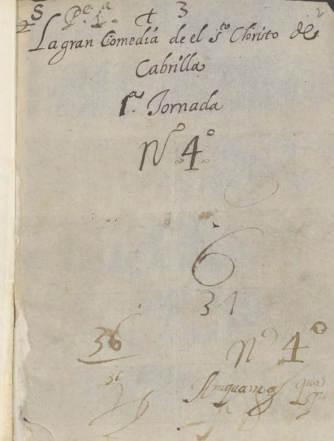"""Una portada del ejemplar manuscrito que de la comedia """"El Santo Cristo de Cabrilla"""" hay en la Biblioteca Nacional."""