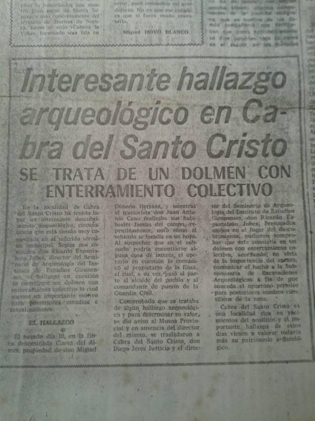 Noticia del Diario Jaén sobre el hallazgo del dolmen del cerro de los Chotos. Recorte conservado por Rafael Rubio Santoyo, a quien damos las gracias por compartirlo.