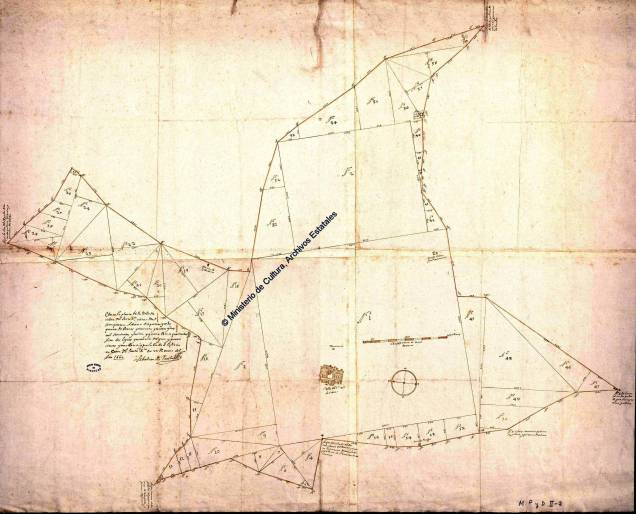 Triangulación y medición del término realizada por Sebastián de Ruesta en 1660. 1 Plano, ms., montado sobre tela. 81x100 cm. Archivo general de Simancas MP y D-II-2